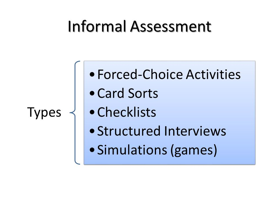 Informal Assessment Types Forced-Choice Activities Card Sorts