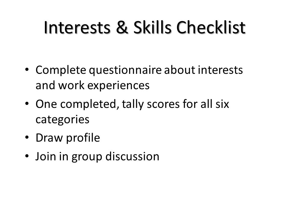 Interests & Skills Checklist