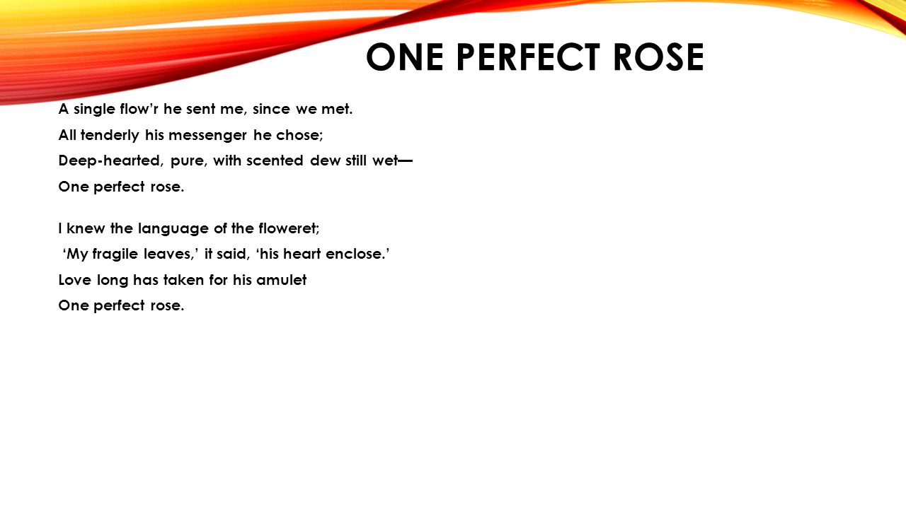 ONE PERFECT ROSE. - ppt download