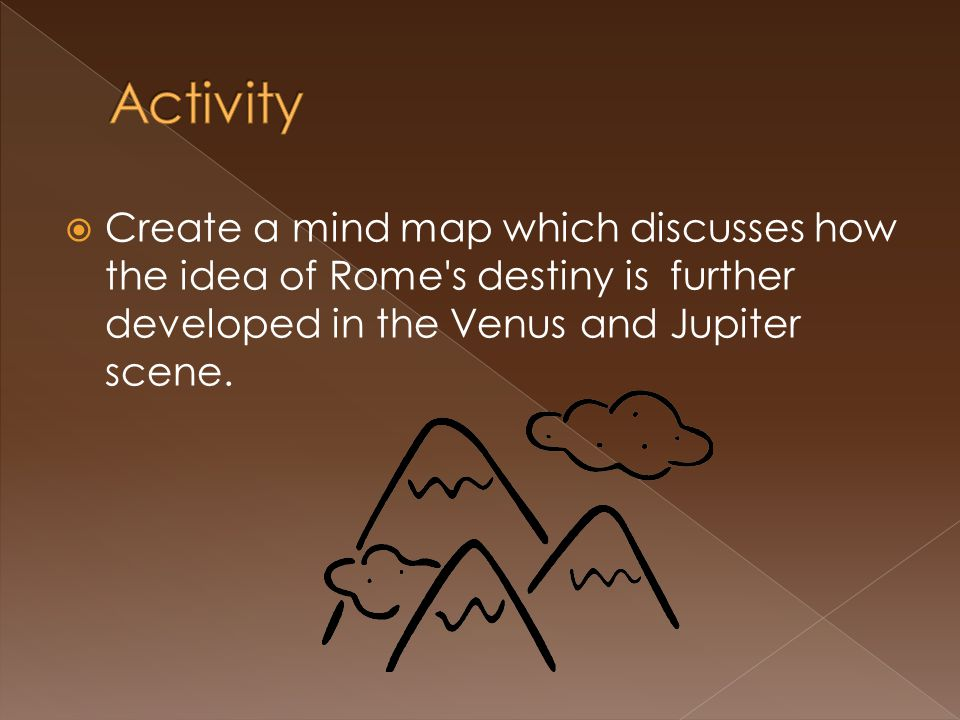 Activity Create a mind map which discusses how the idea of Rome s destiny is further developed in the Venus and Jupiter scene.