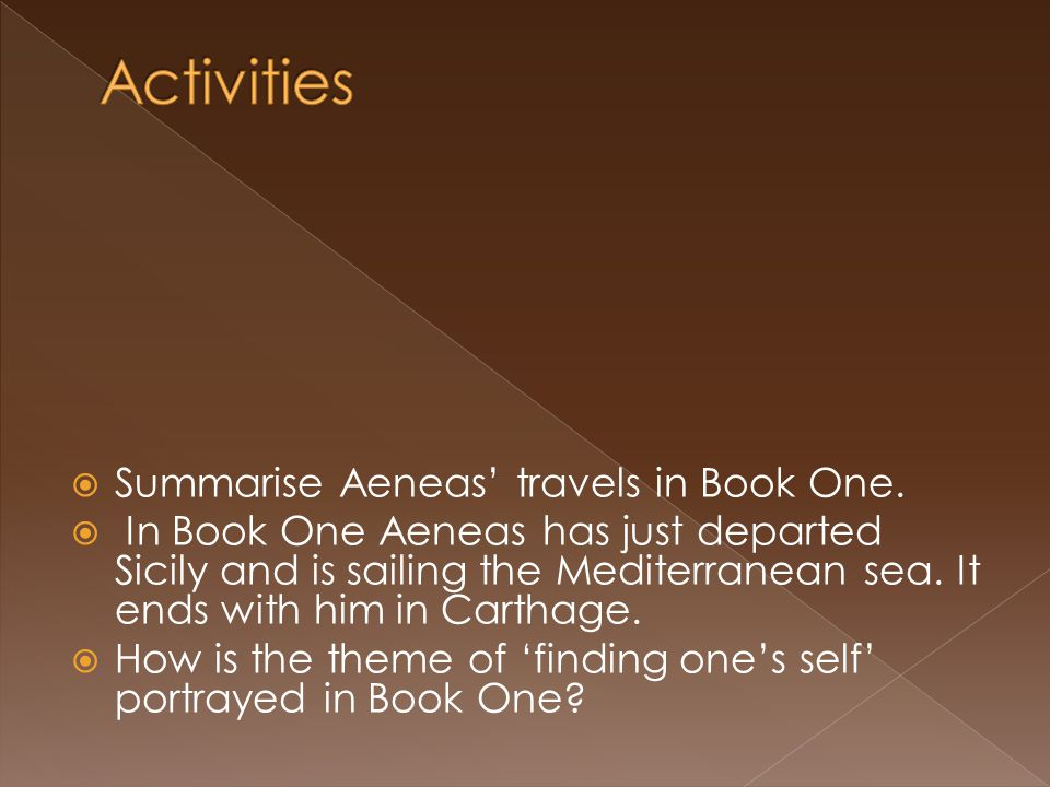 Activities Summarise Aeneas' travels in Book One.