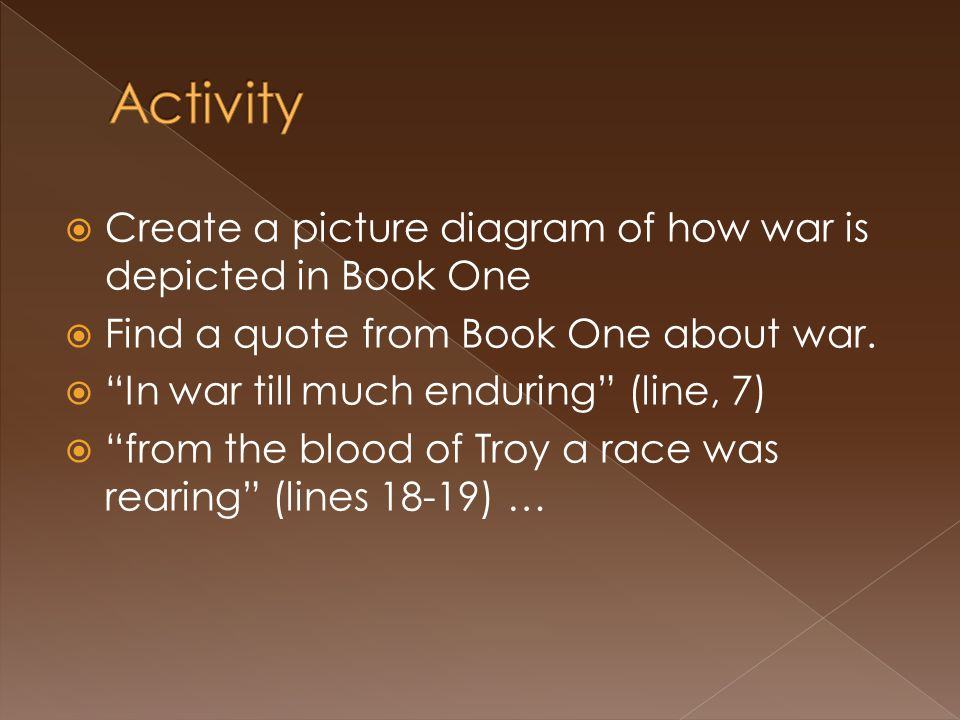 Activity Create a picture diagram of how war is depicted in Book One