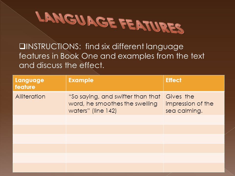 LANGUAGE FEATURES INSTRUCTIONS: find six different language features in Book One and examples from the text and discuss the effect.