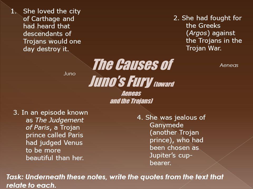 The Causes of Juno's Fury (toward Aeneas