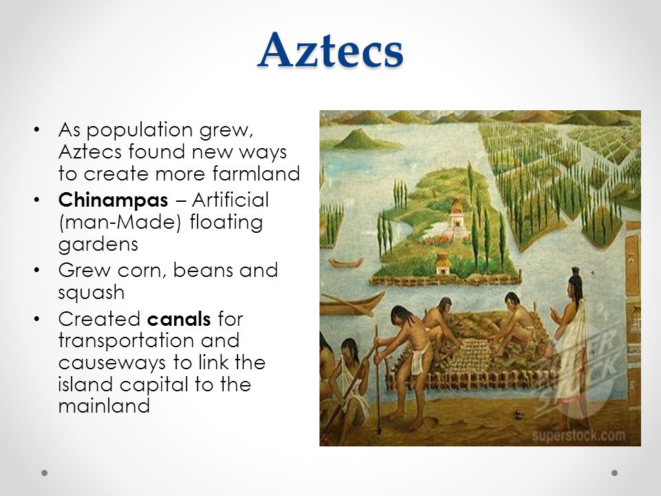 Aztecs As population grew, Aztecs found new ways to create more farmland. Chinampas – Artificial (man-Made) floating gardens.