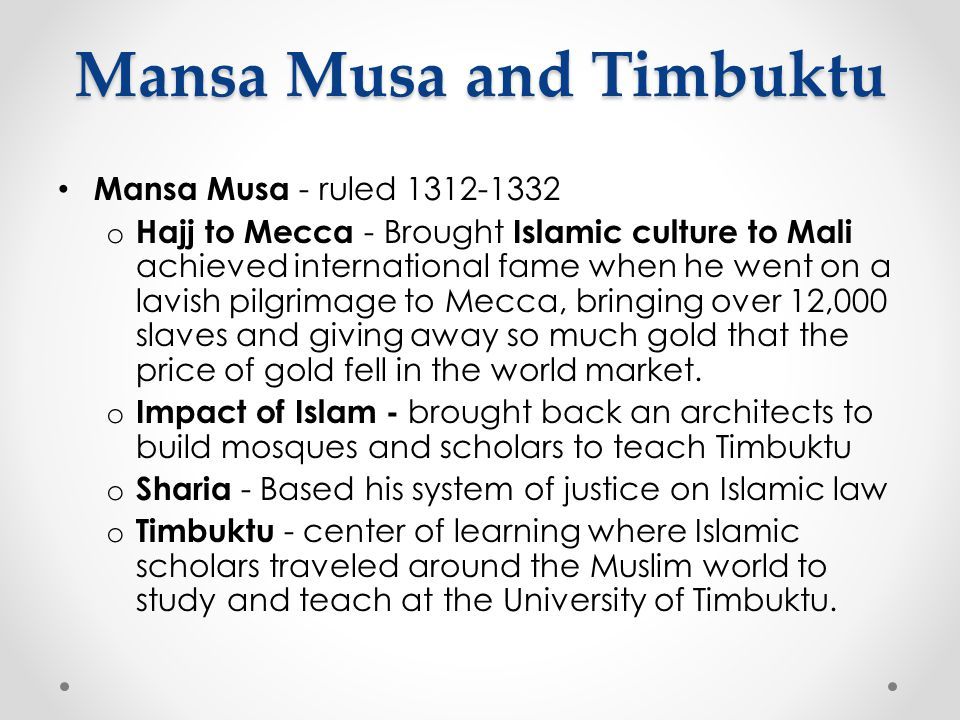 Mansa Musa and Timbuktu