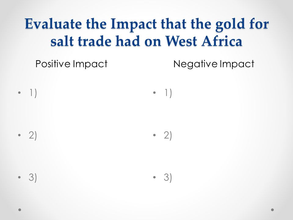 Evaluate the Impact that the gold for salt trade had on West Africa