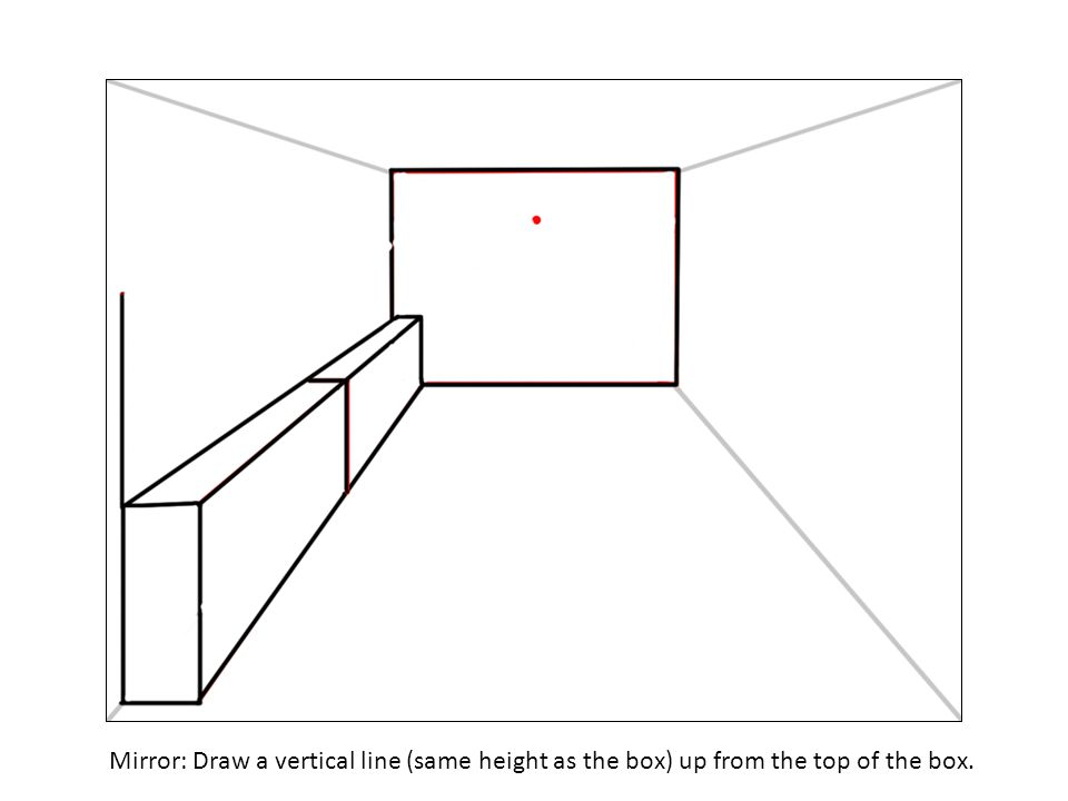 Mirror: Draw a vertical line (same height as the box) up from the top of the box.