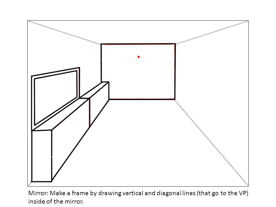 Mirror: Make a frame by drawing vertical and diagonal lines (that go to the VP) inside of the mirror.