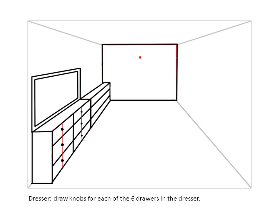 Dresser: draw knobs for each of the 6 drawers in the dresser.