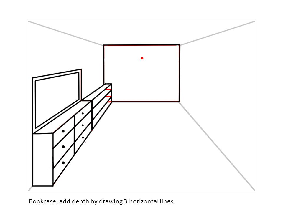 Bookcase: add depth by drawing 3 horizontal lines.