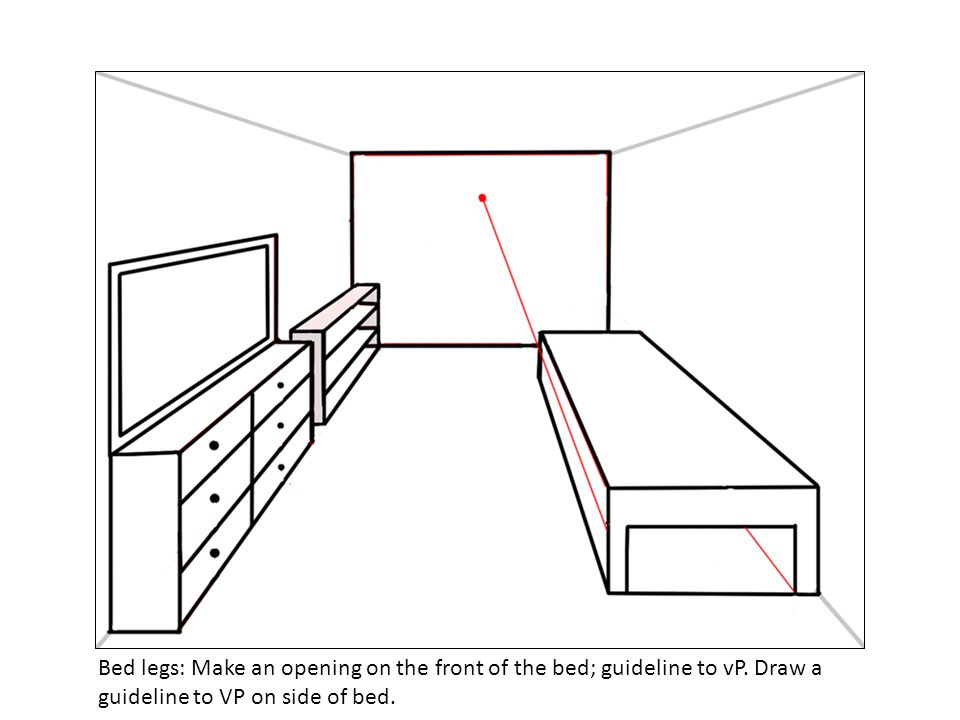 Bed legs: Make an opening on the front of the bed; guideline to vP