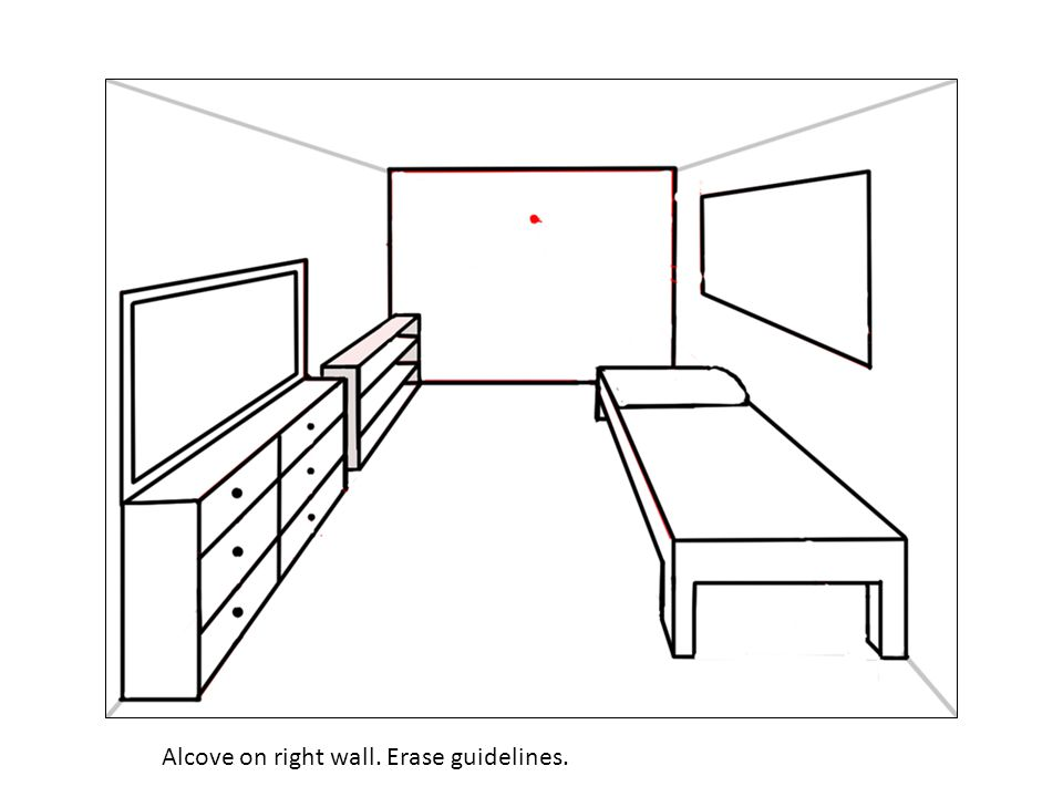 Alcove on right wall. Erase guidelines.