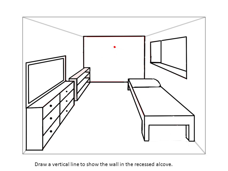Draw a vertical line to show the wall in the recessed alcove.