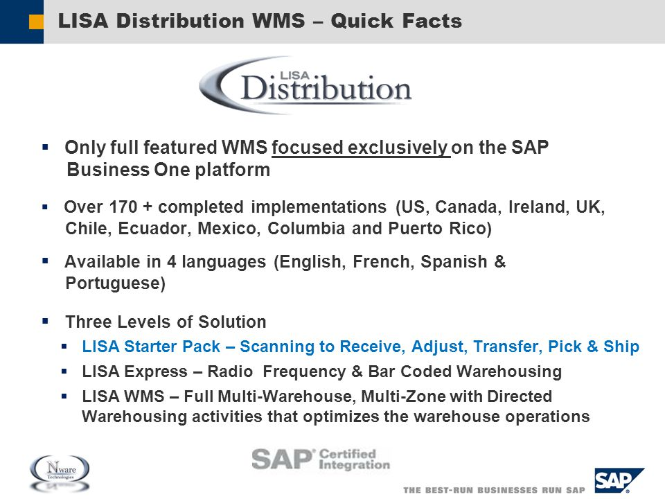LISA Distribution WMS – Quick Facts