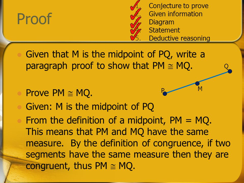 Conjecture to prove Given information. Diagram. Statement. Deductive reasoning. Proof.