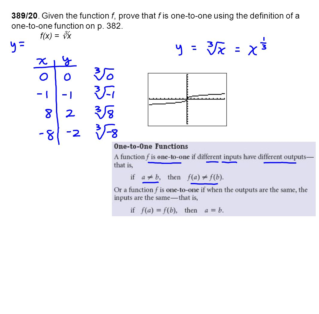 389/20. Given the function f, prove that f is one-to-one using the definition of a one-to-one function on p. 382.