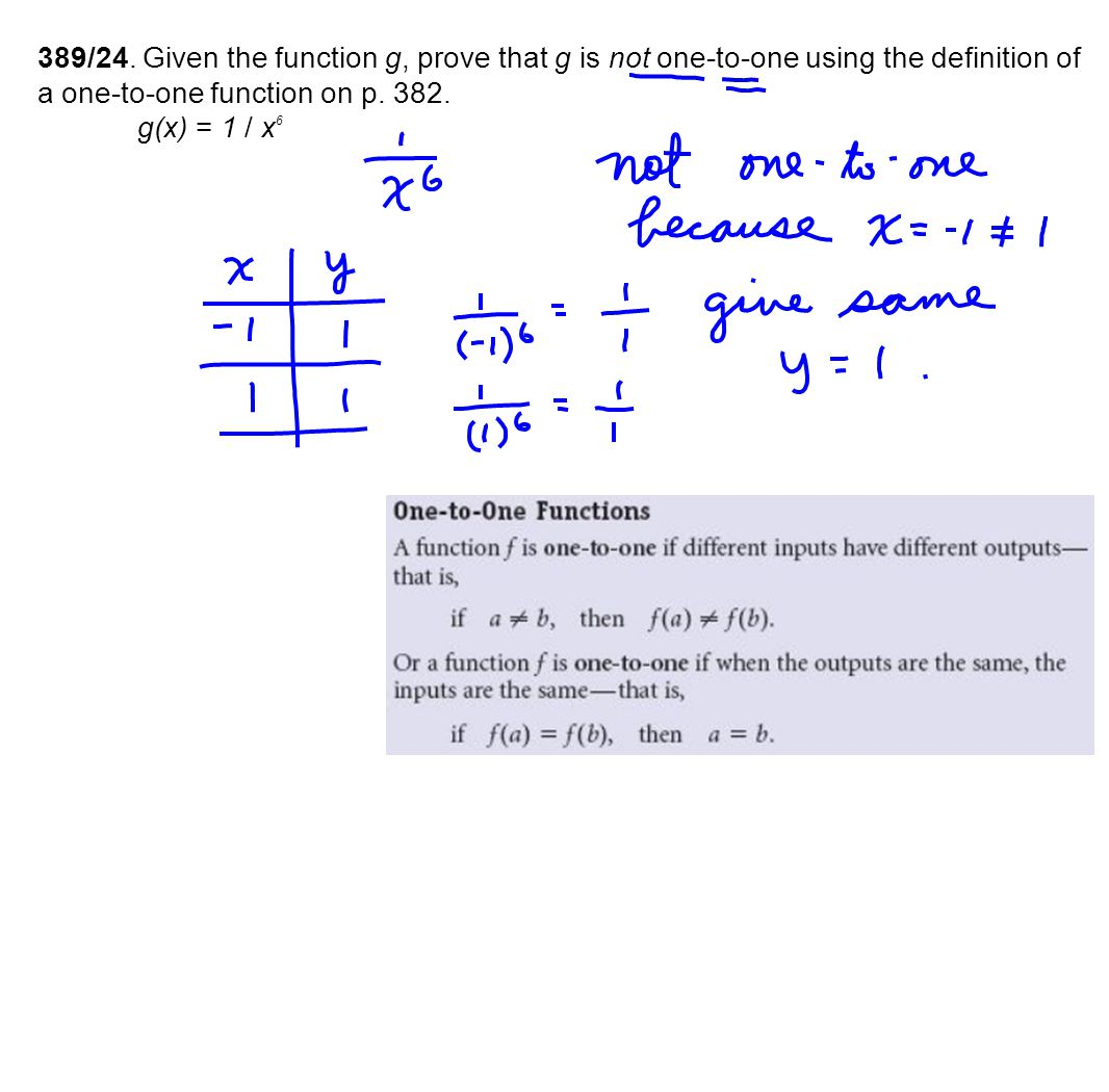 389/24. Given the function g, prove that g is not one-to-one using the definition of a one-to-one function on p. 382.