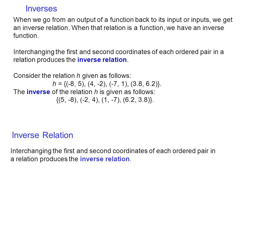 Inverses Inverse Relation