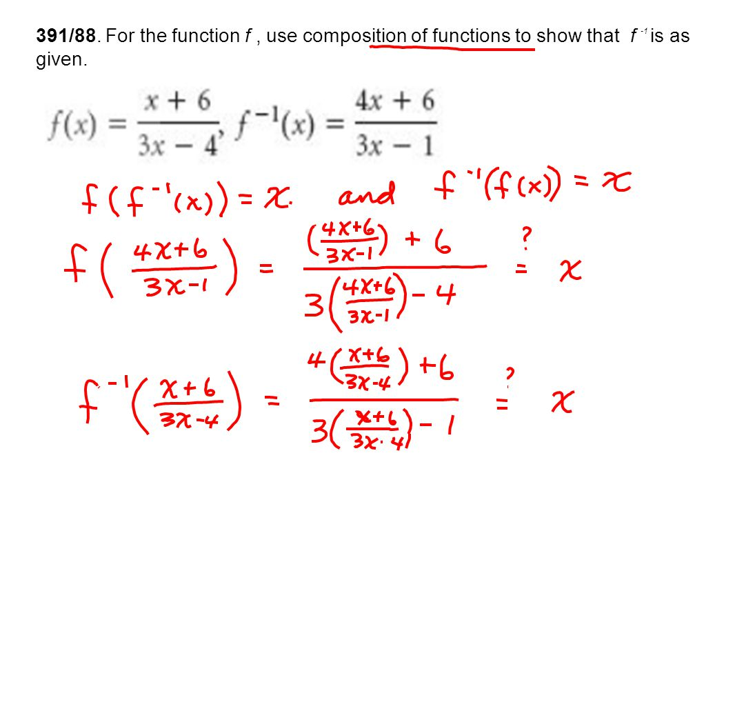391/88. For the function f , use composition of functions to show that f -1 is as given.