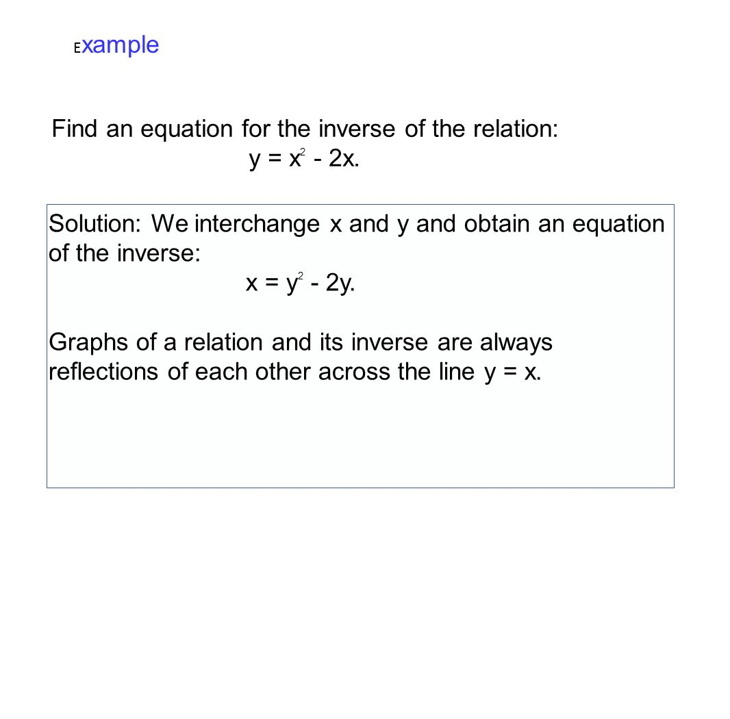 Find an equation for the inverse of the relation: y = x2 - 2x.