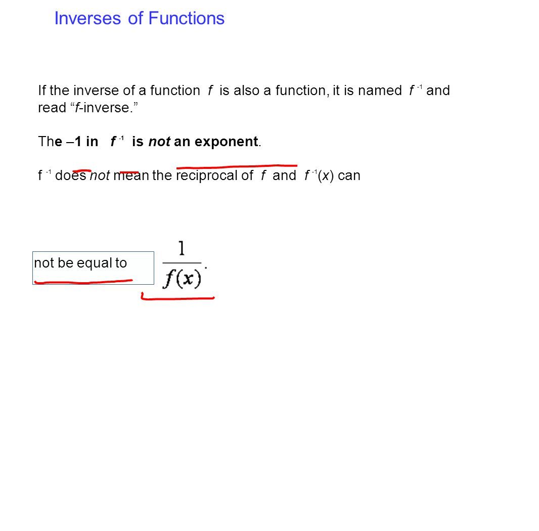 Inverses of Functions If the inverse of a function f is also a function, it is named f -1 and read f-inverse.
