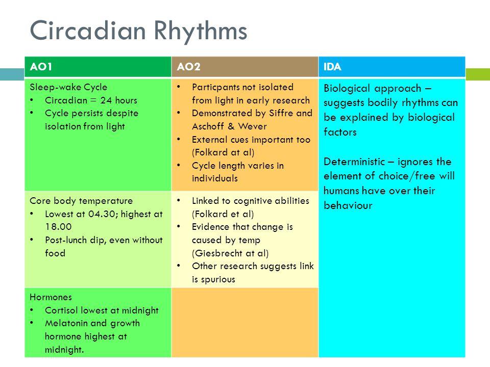 Circadian Rhythms AO1 AO2 IDA