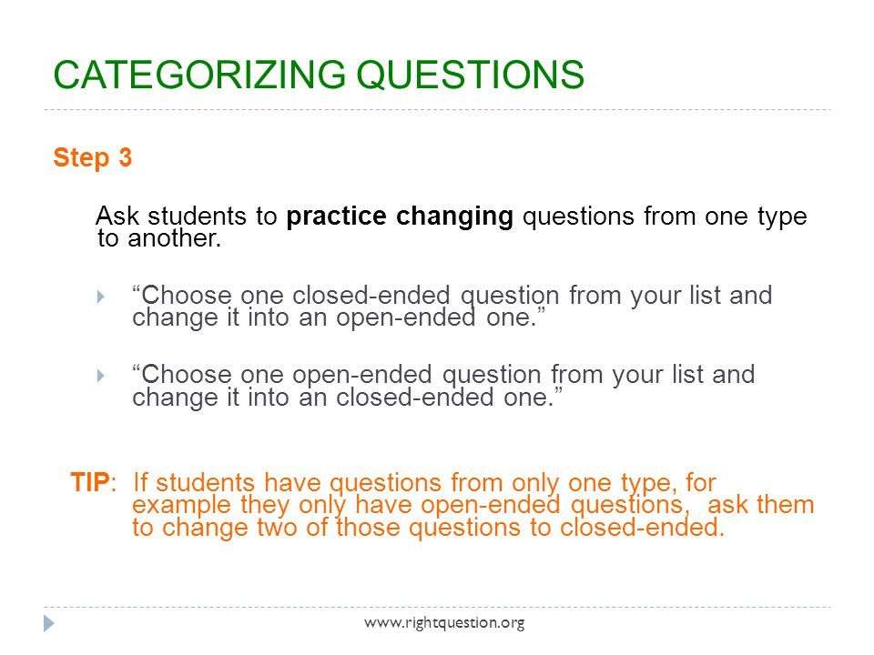 CATEGORIZING QUESTIONS