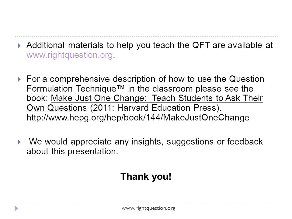 Additional materials to help you teach the QFT are available at www