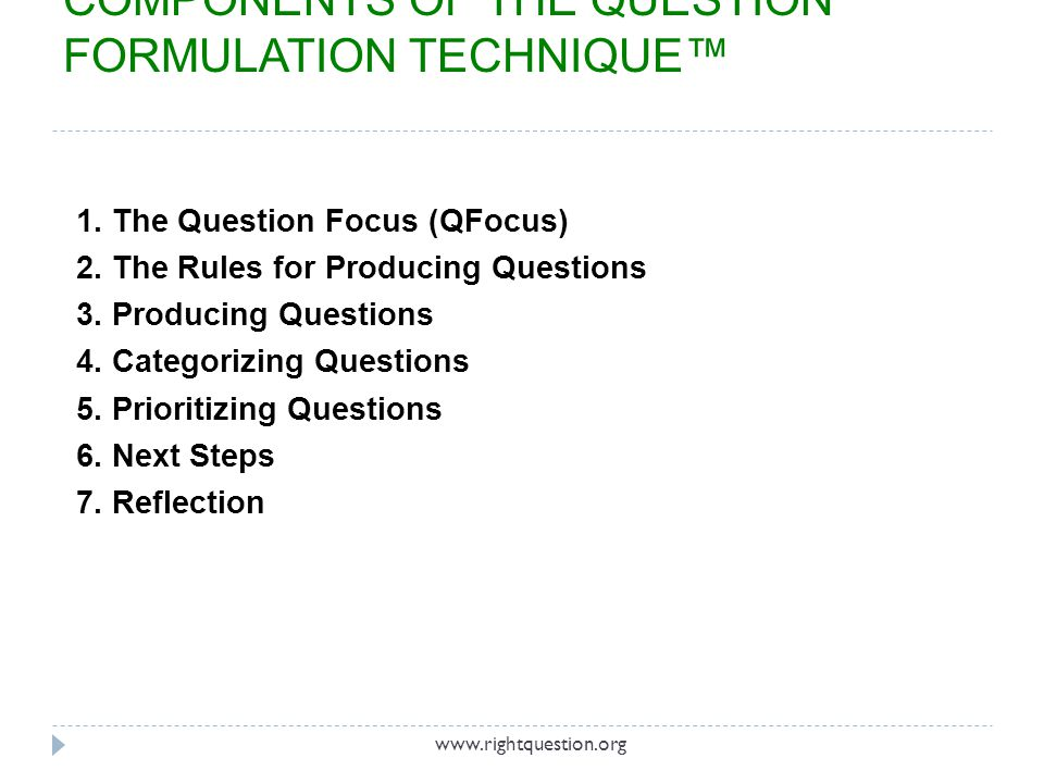 COMPONENTS OF THE QUESTION FORMULATION TECHNIQUE™
