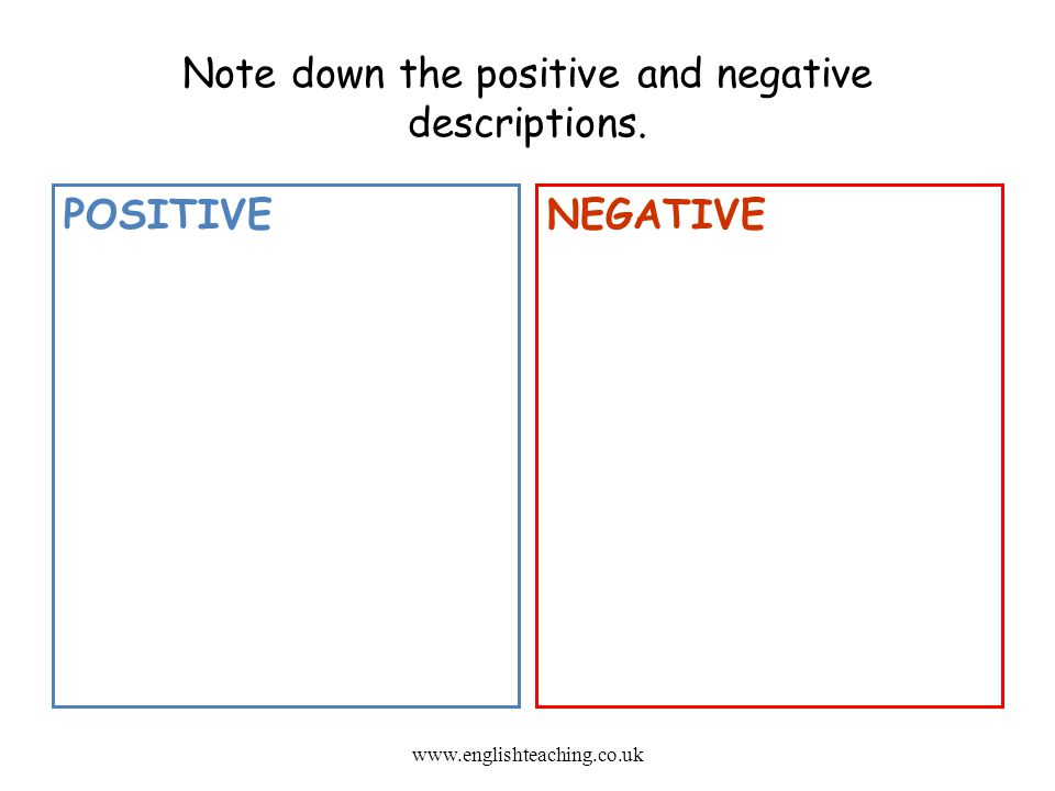 Note down the positive and negative descriptions.