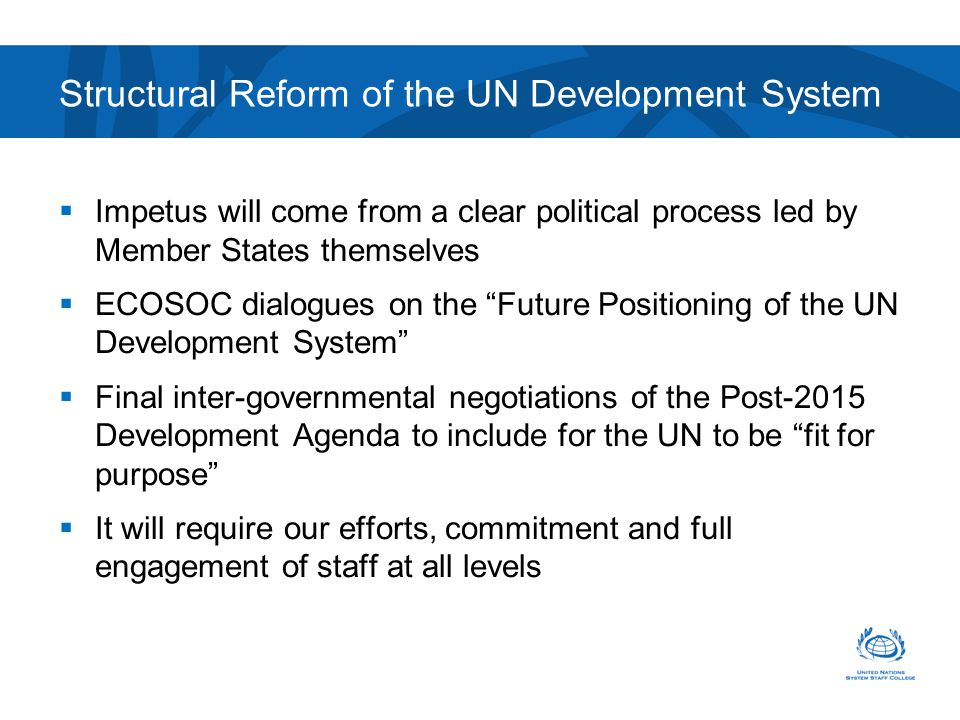 Structural Reform of the UN Development System