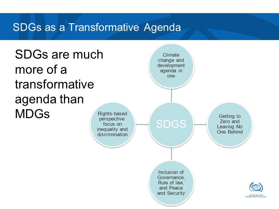 SDGs as a Transformative Agenda