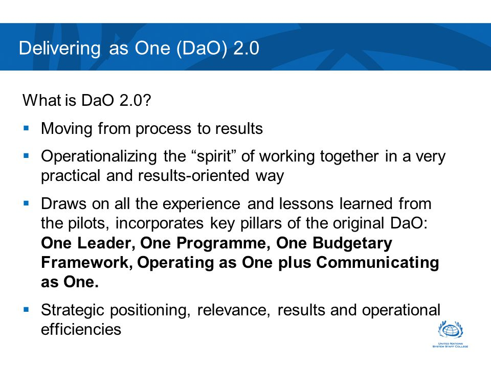Delivering as One (DaO) 2.0