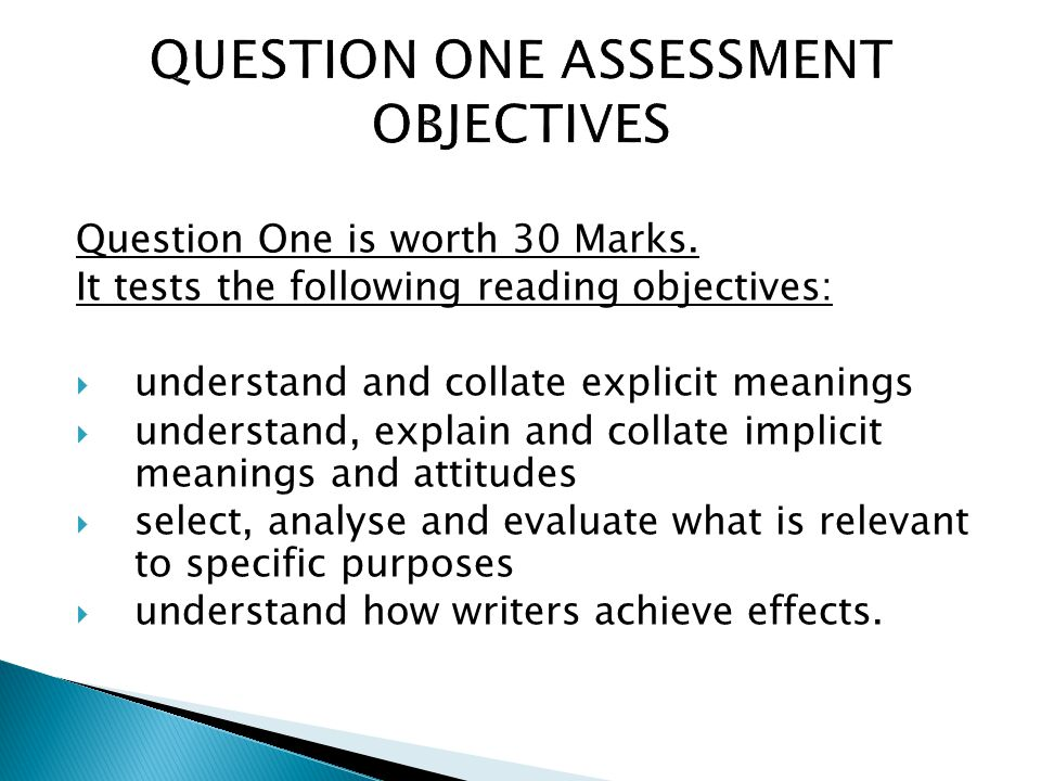 QUESTION ONE ASSESSMENT OBJECTIVES