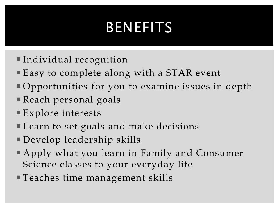 Benefits Individual recognition