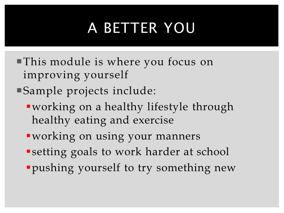 A better you This module is where you focus on improving yourself