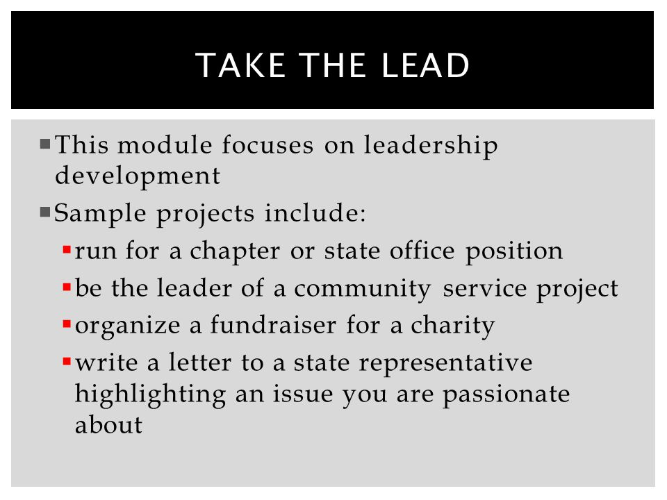 Take the lead This module focuses on leadership development