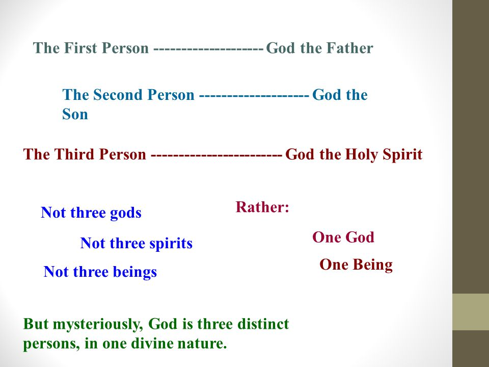The First Person -------------------- God the Father