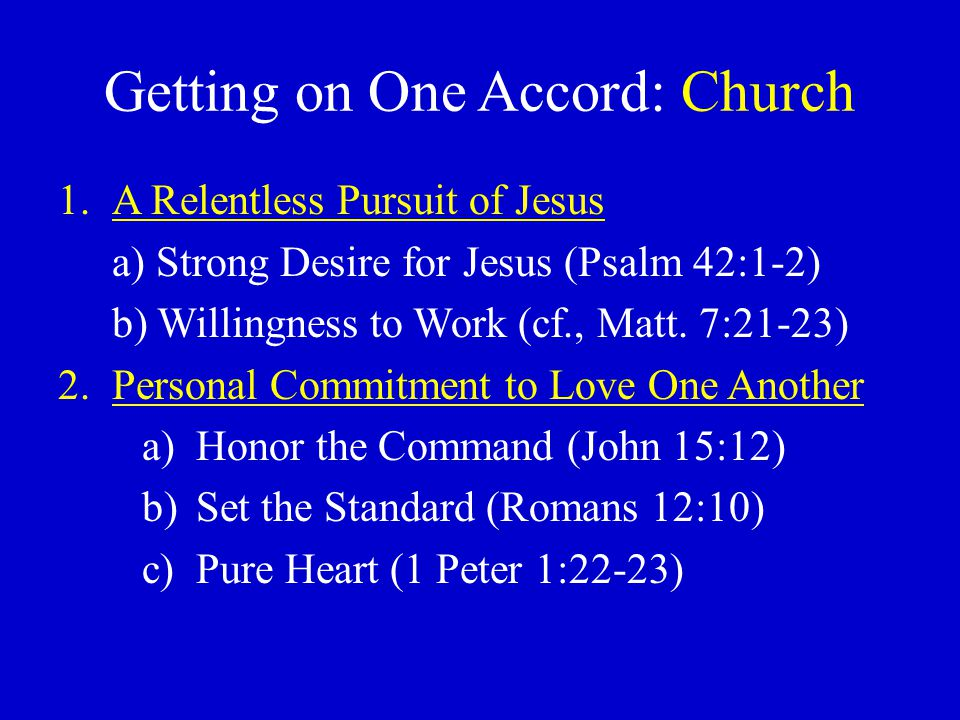 Getting on One Accord: Church