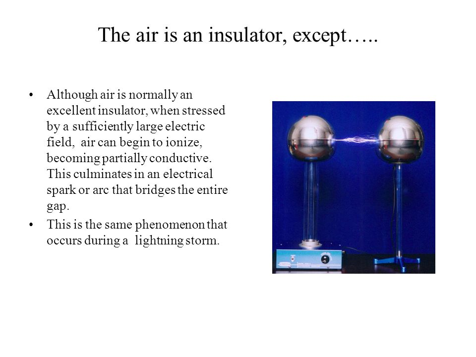 The air is an insulator, except…..
