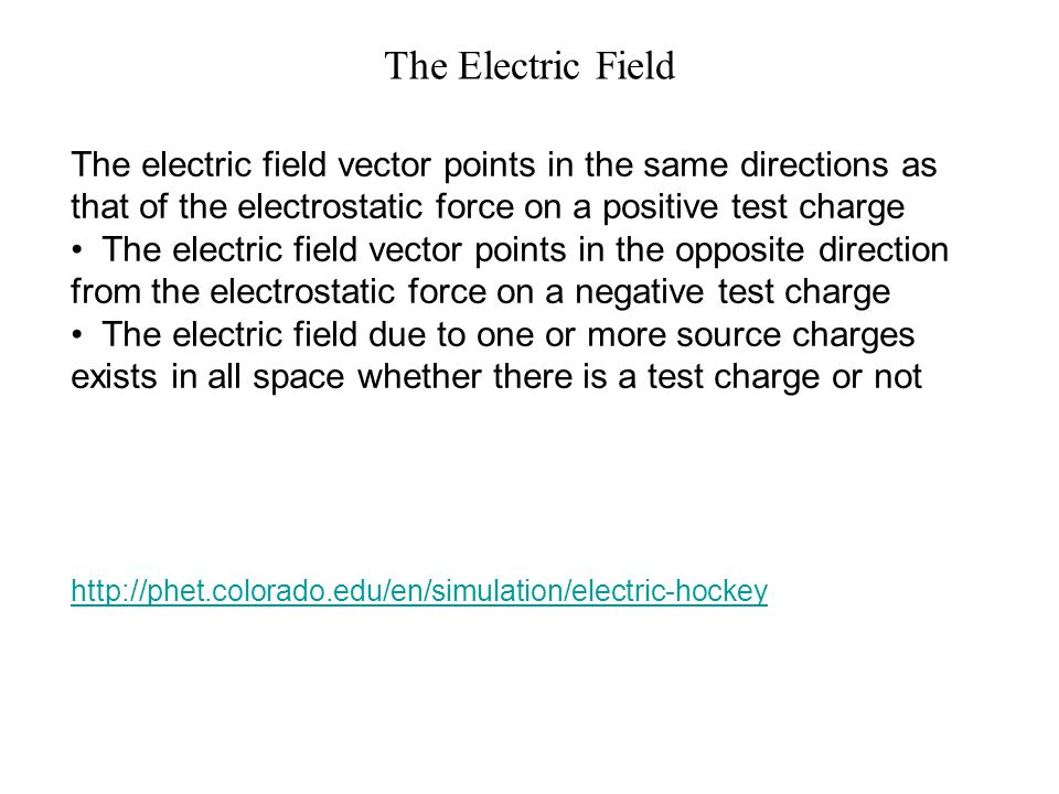 The Electric Field The electric field vector points in the same directions as that of the electrostatic force on a positive test charge.