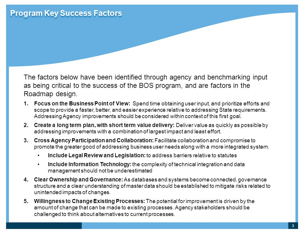 Program Key Success Factors