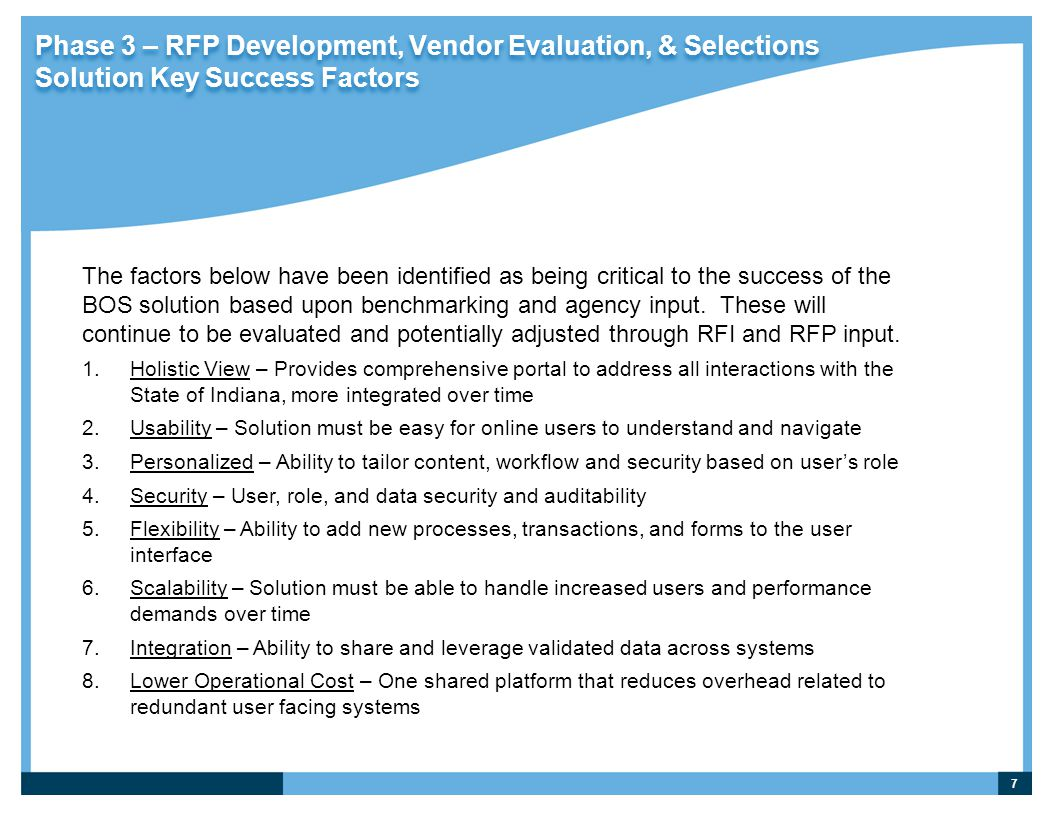 Phase 3 – RFP Development, Vendor Evaluation, & Selections Solution Key Success Factors