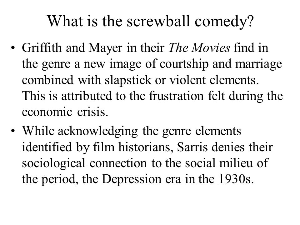 What is the screwball comedy