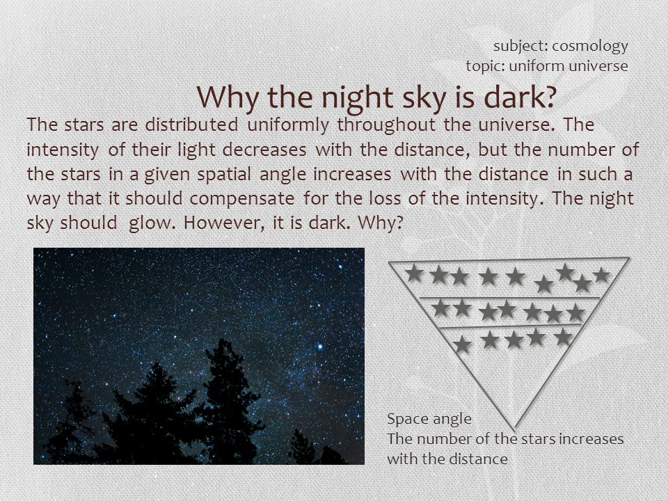 Why the night sky is dark