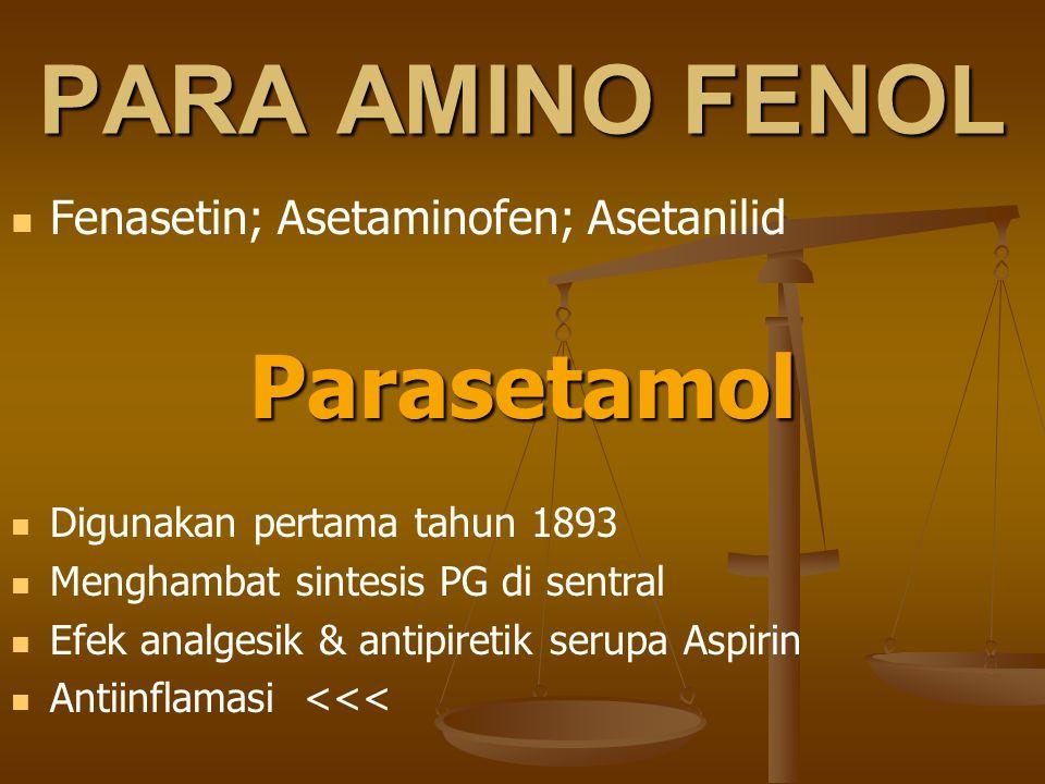 PARA AMINO FENOL Parasetamol Fenasetin; Asetaminofen; Asetanilid