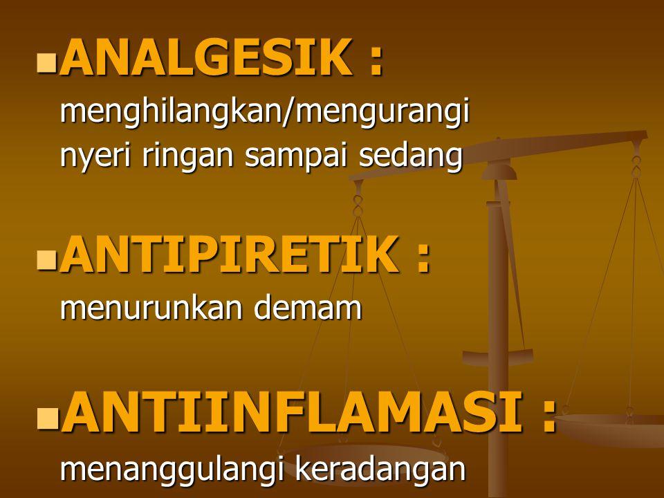 ANTIINFLAMASI : ANALGESIK : ANTIPIRETIK : menghilangkan/mengurangi