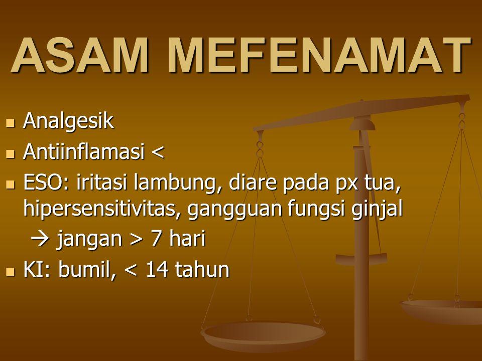 ASAM MEFENAMAT Analgesik Antiinflamasi <