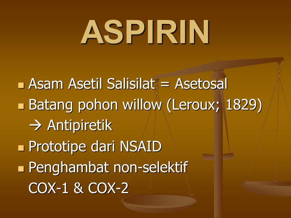 ASPIRIN Asam Asetil Salisilat = Asetosal